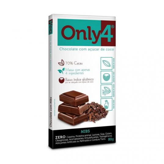 CHOCOLATE 70% CACAU NIBS 80G